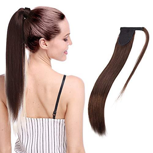 Coda Capelli Veri Clip Extension Code di Cavallo Fascia Unica Ponytail Extensions Castano 35cm - 100% Remy Human Hair Lisci Umani 80g #4 Marrone Cioccolato