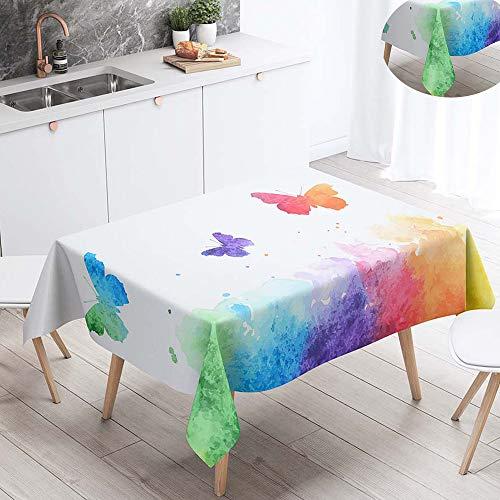 Fansu Tischdecke Wasserdicht Tischwäsche, Rechteckige Wasserabweisend Abwaschbar 3D Tischtuch Draussen Küchentischabdeckung für Outdoor Garten Küche Dekoration (Grünes Aquarell,90x90cm)