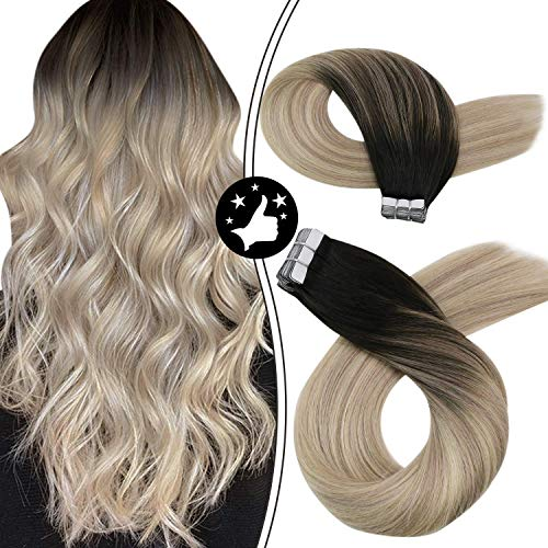 Moresoo Straight Tape in Human Hair Extensions Seamless Hair Off Black Fading to Ash Blonde and Platinum Blonde Adhesive Balayage Tape in Hair Extensions 22 Inch #1B/18/60 100 Gram/40PCS