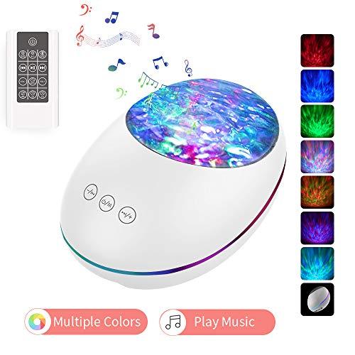 Lámpara Proyector, lámpara de cabecera para bebés con control remoto 8 modos de iluminación Temporizador Bluetooth Música Altavoz Regalos para niños Iluminación para fiestas Dormitorio para