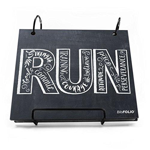 Gone For a Run Running BibFOLIO | Runner's Race Bib Holder and Album| Chalkboard Inspire to Run | Black/White