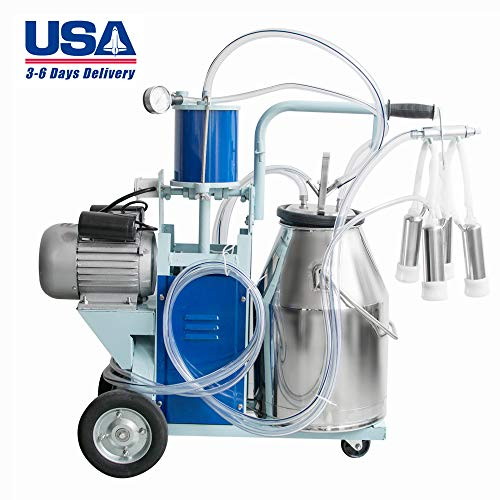 Electric Milking Machine 10-12 Cows per Hour Milking Machine, with 25L Stainless Steel Bucket Milk Machine for Cows and Goat