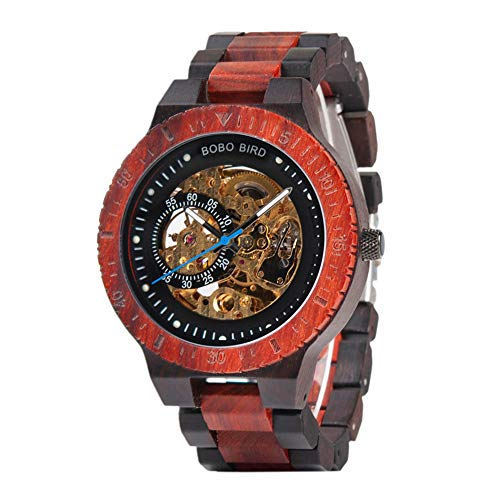 BOBO BIRD R05 Herren-Automatikuhr Skelett Glasboden Armbanduhr mit Holz Armband (Braun rot)