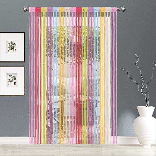 AIZESI 2 Stück Fadenvorhang Bunt Gardinen FadenGardine Fadenstore Vorhänge 90 x 200 cm Vorhang Fenstervorhang Türvorhang Schlafzimmer(Regenbogen)