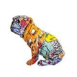 Idyllic Decor Colorful Art Bulldog Statue Figurine Collectable Graffiti Art Bulldog Statues and Sculptures for Home, Living Room, Office, Kitchen, Desktop, Home Decor Interiors colorful