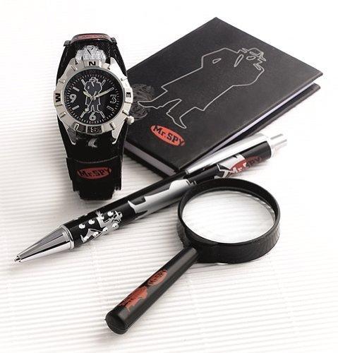 Nur Jungen Polizei Spion Lupe Buch Kugelschreiber & Armbanduhr