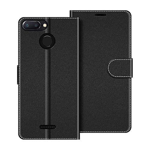 COODIO Funda Xiaomi Redmi 6 con Tapa, Funda Movil Xiaomi Redmi 6A, Funda Libro Xiaomi Redmi 6 Carcasa Magnético Funda para Xiaomi Redmi 6 / 6A, Negro