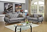 Poundex Bobkona Sonya Linen-Like 2 Piece Sofa and Loveseat Set, Grey