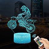 LED Lámpara de Mesa 3D Moto corredor con Control Remoto Sensor Tacto, QiLiTd Regulable Lámpara de Noche Atmósfera Modo RGB, Decoracion Cumpleaños, Navidad Regalos de Mujer Bebes Hombre Niños Amigas
