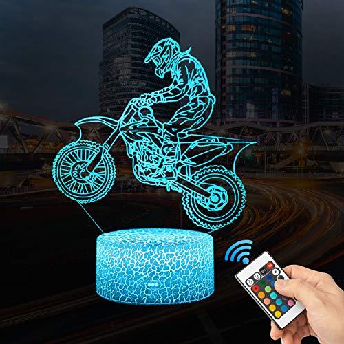 3D Motorrad Rennfahrer Lampe LED Nachtlicht mit Fernbedienung, 16 Farben Dimmbare Touch Schalter Nachtlampe Geburtstag Geschenk, Frohe Weihnachten Für Mädchen Männer Kinder