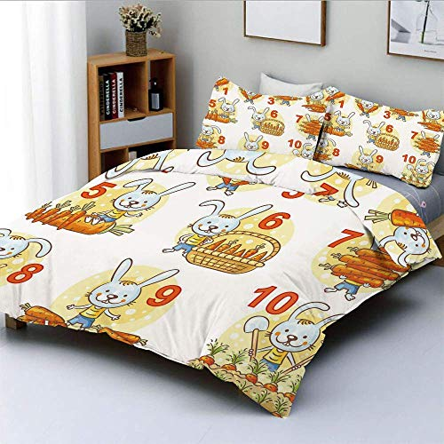 Jojun Duvet Cover Set,Rabbit and His Carrots Colorful Funny Cartoon with Numbers Set DecorativeDecorative 3 Piece Bedding Set with 2 Pillow Sham,Multicolor,Best Gift For Kids & Adult Easy Ca