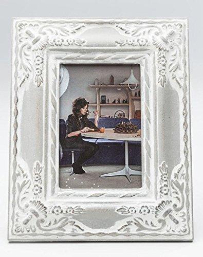 Kare Bilderrahmen Royal Family grau, mit Ornamenten, für Fotos und Bilder im Format 10 x 15 cm, Im Shabby- Antik- Vintage- Look, Rahmen ca. 25 x 20 cm, zum Hinstellen, aus Kunststoff und Glas