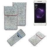 K-S-Trade Handy Schutz Hülle Für Allview X4 Soul Style Schutzhülle Handyhülle Filztasche Pouch Tasche Hülle Sleeve Filzhülle Hellgrau Roter Rand