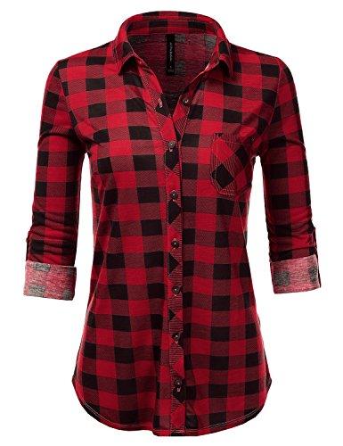 JJ Perfection Womens Roll Up Long Sleeve Collared Button Down Plaid Shirt Redblack Medium