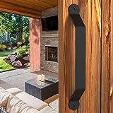 Barn Door Handle Large Black 12 inch Solid Steel Gate Handle Pull for Sliding Barn Doors Closets Gates Garages Sheds