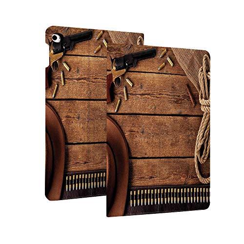 Western Funda para iPad 10.2' 2019 (7ª generación), cinturón de vaquero y sombrero de cuerda vintage y cigarro en tablones de madera rústica imagen superfina y ligera funda protectora con función de reposo/activación automática