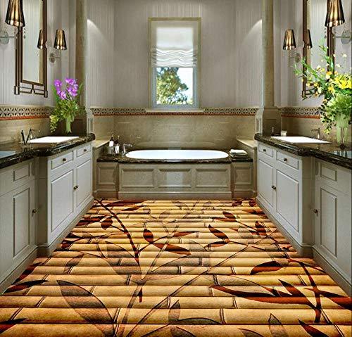 3D Wasserdichtes Bodenbild3D Bodenbelag Dekoration Bambus Blumen 3D Boden Pvc Selbstklebende Tapete Bad Boden Tapete-300 * 210 Cm