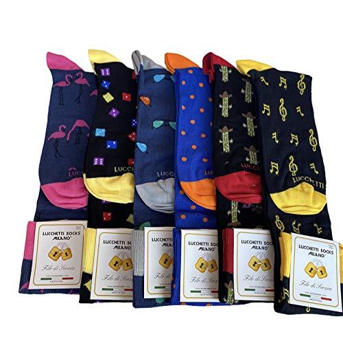 Lucchetti Socks Milano 6 paia calze uomo lunghe estive in diverse fantasie, cotone mercerizzato fresco e leggero Taglia Unica (Assortimento L)