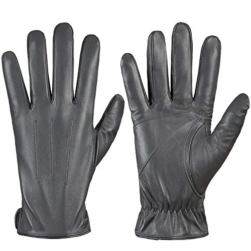 Genuine Sheepskin Leather Gloves For Men, Winter Warm Touchscreen Texting Cashmere Lined Driving Motorcycle Gloves By Alepo(Gray-M)