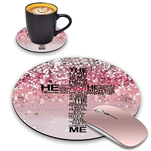 BWOOLL Round Mouse Pad and Coasters Set, Pink Glitter Mouse Pad, God Jesus Christian Cross Design Mouse Pad, Non-Slip Rubber Base Mouse Pads for Laptop and Computer