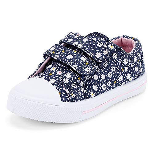 K KomForme Toddler Sneakers for Boys and Girls Cartoon Dual Hook and Loops Sneakers Baby Canvas Shoes Light Blue