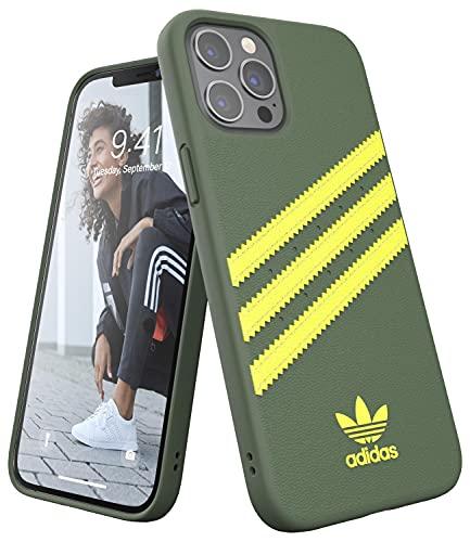 Adidas - Custodia per iPhone 12 Pro Max, con bordi rialzati, antiurto, originale, colore: Pino selvatico/Giallo acido