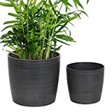 Worth Garden Resin Planter Pot Set of 2 Indoor - Minimalist Flower Pot, Elegant Black Planters for Plants 3-Year Warranty - 11'' Dia x 10'' H. & 8'' Dia. x 7.5'' H. - G941A01