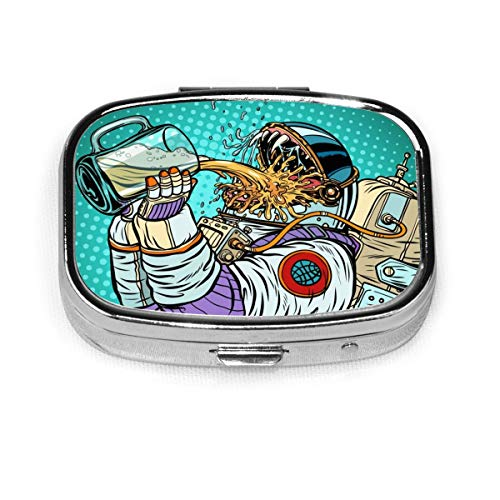 Astronaut Mutant Durst Bier Pop Art Essen und Trinken Menschen Benutzerdefinierte personalisierte quadratische Pille Box dekorative Box Vitamin Behälter Tasche oder Brieftasche