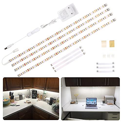 LED Unterbauleuchte Küche,WOBANE LED Küchen UnterSchrank Beleuchtung mit Schalter,2m Kaltweiss LED Streifen,Küchenlampen,für Schrank,Regale,Vitrinen,Kleiderschrank,CE Gelistet,120LEDs,6000K,4er Set