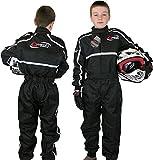 Qtech - Combinaison intégrale de Moto-Cross/Karting/Moto - Enfant - Noir - M