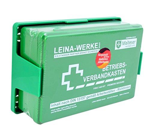 Betriebs Verbandkasten Erste Hilfe Koffer DIN13157 Grün mit Halterung Made in Germany von Malteser empfohlen