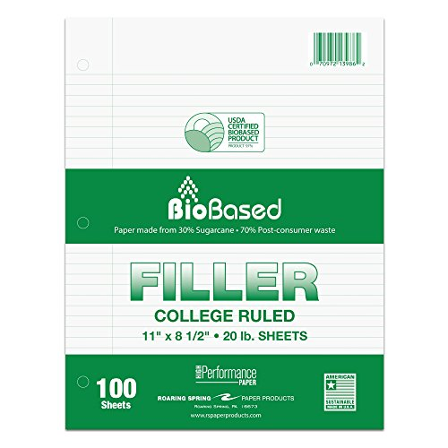 """Roaring Spring BioBased College Ruled Recycled Loose Leaf Filler Paper, USDA Certified, 11"""" x 8.5"""" 100 Sheets, White Paper"""