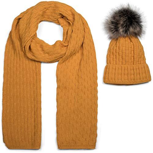 styleBREAKER Unisex Strick Schal und Mütze Set mit Flecht Muster, Thermo-Fleece Innenfutter, Winter 01018212, Farbe:Curry