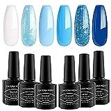 Lagunamoon Esmaltes Semipermanentes de Uñas en Gel UV LED, 8ml 6 Colores Kit de Através el Cielo de Tono Azul, Esmaltes de Uñas Soak off