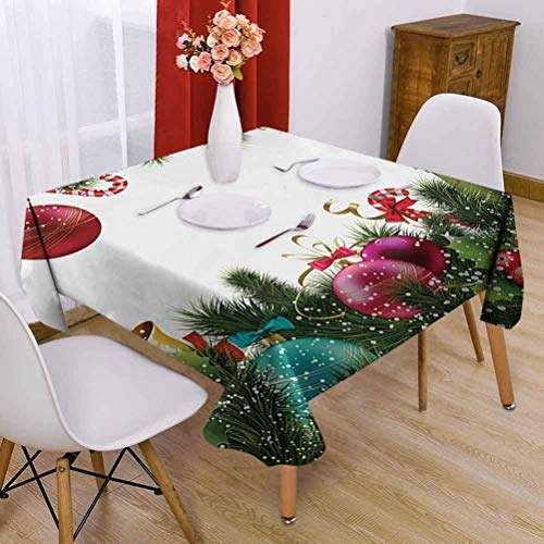 Christmas Square Tablecloth 60 x 60 inch Festival Tablecloth Catering Activities Happy New Year Greeting Celebrations with Holly Garland Artful Design Green Maroon
