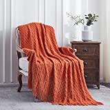 Lunarose Throw Blanket for Couch,Soft Cozy Knit Blanket,Lightweight Decorative Throw for Sofa Chair Bed Travel and Living Room-All Seasons Suitable for Women,Men and Kids (50'x60', Orange-Wave)