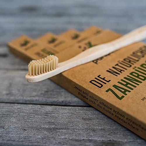 pandoo 4er-Sparset umweltfreundliche Hand-Zahnbürste | Für Erwachsene und Kinder (Mittel bis Weich) | Vegan, Bio, Holzfrei, BPA Frei | Bamboo Toothbrush - 6