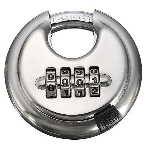 HLKJ hangslot, 4-cijferige combinatie weerbestendig anti-roest schijf roestvrijstalen hangslot met geharde stalen beugel zilveren slot voor het vergrendelen van deuren Windows-tassen