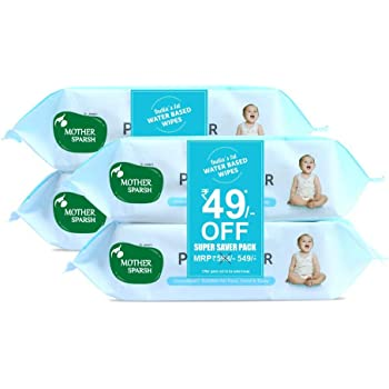 Mother Sparsh Unscented 99% Pure Water (Unscented) Baby Wipes, 72 Baby Wipes, Blue (Pack of 4)