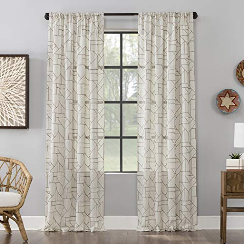 """Archaeo Fragmented Geometric Embroidery Mid-Century Modern Natural Linen Blend Curtain, 50"""" x 84"""" Panel, Mocha/Linenn"""