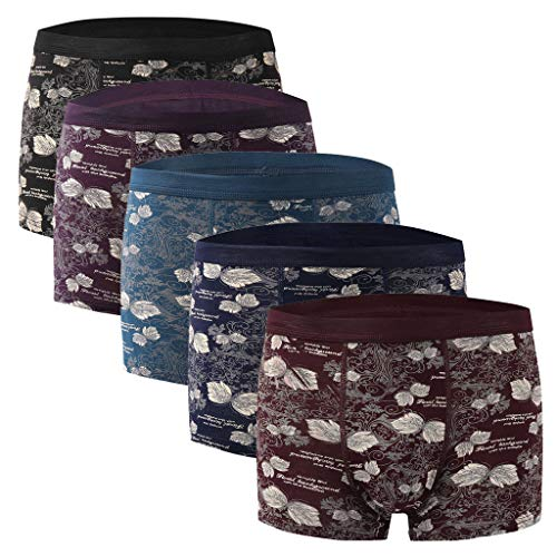 Herren Boxershorts Vintage Druck Baumwolle Retroshorts 5pc Soft Unterwäsche Unterhose Shorts Höschen Bequem Atmungsaktiv