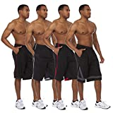 Essential Elements 4 Pack: Men's Active Performance Athletic Quick-Dry Workout Gym Knit Drawstring Basketball Shorts with Pockets (Small, Set A)