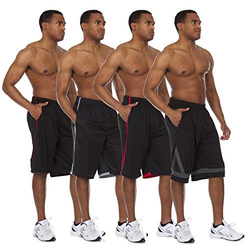 Essential Elements 4 Pack: Men's Active Performance Athletic Quick-Dry Workout Gym Knit Drawstring Basketball Shorts with Pockets (Large, Set A)