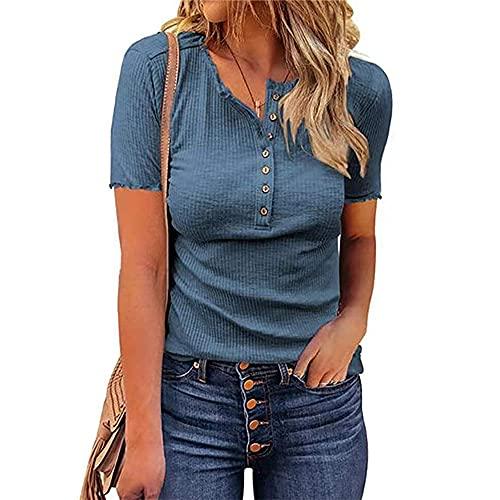 Mayntop Camiseta para mujer de verano, otoño, liso, acanalada, de manga corta, sin mangas, con cuello en V, A-azul, 42
