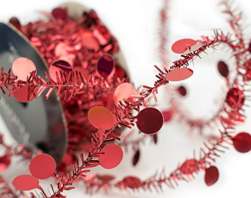 5m Red Mini Circle Wired Tinsel Garland for Christmas Decoration