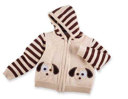 Mud Pie Baby Boys' Puppy Zip Up Sweater, Multi, 12-18 Months