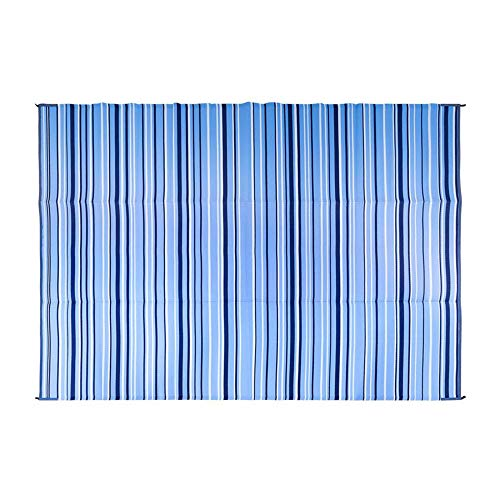 Camco Large Reversible Outdoor Patio Mat-Mold and Mildew Resistant, Easy to Clean, Perfect for Picnics, Cookouts, Camping, and The Beach (9' x 12', Blue and White Striped Design) (42865)
