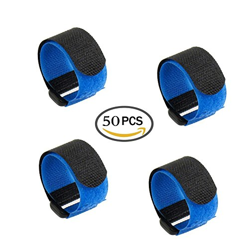 """LGEGE 50 Pcs 8"""" Blue Reusable Fastening Wrap Strap, Loop Fastening Straps, Hook & Loop Cable Ties for Keeping Cable, Wire and All Kinds of Cords"""