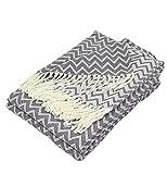 Moon Luxury Decke aus Baumwolle ca. 150x200 Kuscheldecke Zick-Zack Muster Tagesdecke mit Fransen leicht und kuschelig – weiß / anthrazit