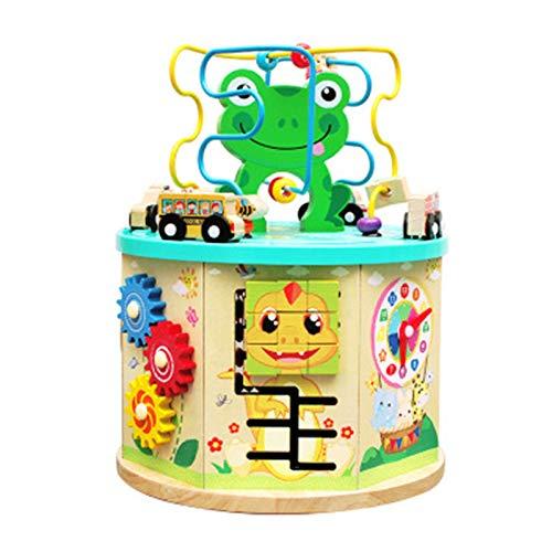 Dfghbn Cubo De Actividad Actividad de jardín Cubo Madera Forma y Color Clasificador Bead Maze & Cuentándose Juguete para bebés Un Gran Juguete Educativo (Color : Multicolor, Size : 31X23.5cm)